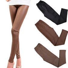 Women Tight Faux Leather Pants Rock Punk Slim Fit Trousers Basic Leggings Hot