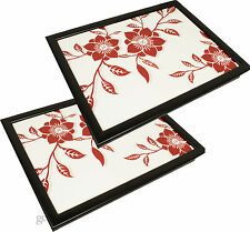 2x Red Rose Padded Lap Tray Tv Dinner Breakfast Laptop Bean Bag Serving Cushion