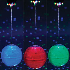 DISCO 20CM MIRROR BALL MOTOR 8 LED'S ROTATING COLOUR CHANGING STAGE PARTY LIGHT