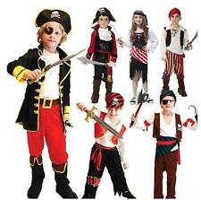Boy Girl Pirate Costume Cosplay Fancy Dress Jack Buccaneer Halloween Outfit