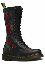 Doc Dr Martens Ladies Vonda Applique Embroidery 14 Up Side Zip Tall Black Boots