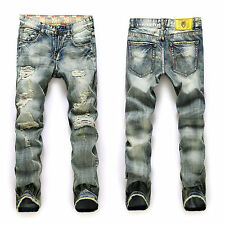 Mens Classic Straight Ripped Wash Fit Denim Pants Frayed Distressed Ripped Jeans