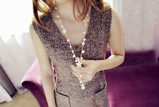 Elegant Women Pearl Flower Sweater Chain Long Pendant Necklace Jewelry Gifts New