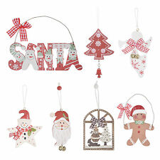Christmas Tree Decorations Pack Novelty Hanging Ornaments Xmas Wooden Boxed