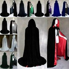 Halloween Hooded Velvet Cloak Capes Fancy Dress Costume Goth Witch Vampire Robe