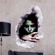 Halloween Ghost Through Brick Wall Stickers Living Room Bedroom 3D Wall Decal