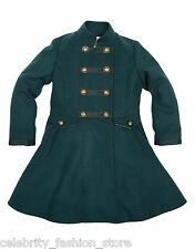 Girls Monsoon Green Poppy Military Flared Woolen School Dress Jacket Coat 3 - 13