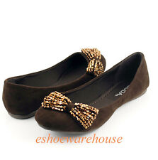 Brown Faux Suede Beaded Bow Accent Awesome Cutie Round Toe Ballet Flats