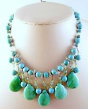 Natural Turquoise Round Bead Necklace w/Teardrop Shape Dangles Necklace