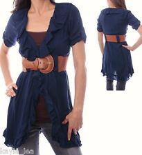Navy Blue Short Sleeve Ruffled/Belted Tunic Cover-Up