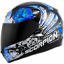 Scorpion Ladies EXO-R410 Full Face Helmet Novel Graphic Blue Free Size Exchange