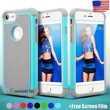 Hybrid Shockproof Rubber Impact Hard Case Cover for iPhone 7 iPhone 7 Plus +Film