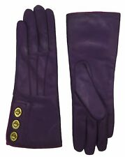 COACH Leather Wrist Gloves Womens Cashmere Lined Purple NEW Turnlock Glove 82825
