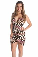 121AVENUE Sexy V Neck Strapless Dress L Large Women Brown Clubwear