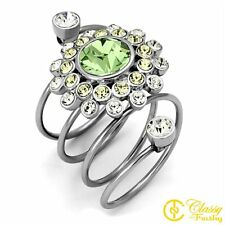 Women's Stainless Steel Crystal Dome Cocktail Ring, Peridot - Size 9
