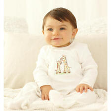 Little Me Neutral Ivory Long Sleeve Giraffe Footie and Hat Layette Set