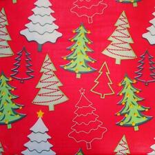 CHRISTMAS TREES TABLECLOTH~Vinyl~Flannel Back~ALL SIZES~Red/Green~NEW
