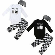 Newborn Unisex Toddler Baby Infant Bodysuit Hat+Romper+Pants 3pcs Outfit Sets