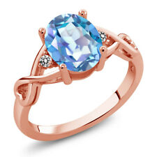 1.86 Ct Oval Millennium Blue Mystic Quartz White Diamond 14K Rose Gold Ring