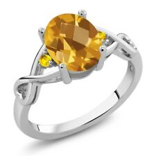 1.37 Ct Oval Checkerboard Yellow Citrine Yellow Sapphire 14K White Gold Ring