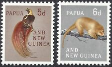 Papua New Guinea 1963 5d BIRD of PARADISE, 6d PHALANGR (2) Unhinged Mint SG 42-3