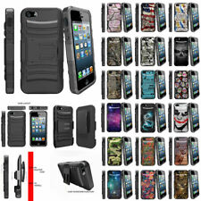 For Apple iPhone SE | iPhone 5/5s Rugged Holster Belt Clip Case Hybrid Stand