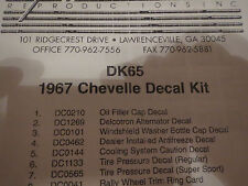 1967 CHEVROLET CHEVELLE EL CAMINO AND SS RESTORATION DECAL STICKER AND TAG KIT