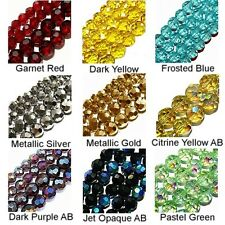 WHOLESALE GLASS BEADS FACET ROUND 10 COLORS PURPLE AB YELLOW AB SILVER GOLD 6MM