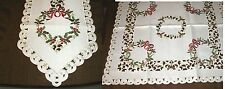 """Table Linens  Christmas Wreath Runner (69""""x13"""") or Topper (34"""" square)  NEW"""