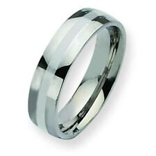 Stainless Steel Silver Inlay 6mm Mens Ring
