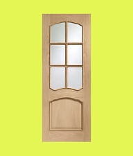 Pre-Finished Internal Oak Riviera Door with Clear Glass and Raised Mouldings
