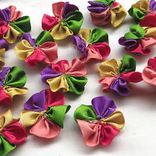 50/200pcs Colorful Grosgrain Ribbon Flower Appliques wedding Sewing Crafts