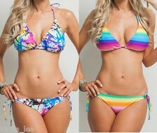 Rainbow or Splatter Tropical Halter Top & Tie Side Bikini Swimwear Swim Suit Set