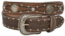 NEW! Western Brown Leather Belt-Silver Rivets, Conchos and Rhinestones 32-48