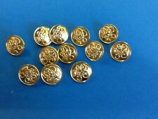 12 brass/ gold coloured military style shank buttons. 15 mm. New.
