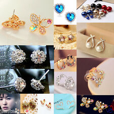 Hot Fashion Pearl Crystal Rhinestone Gold/Silver Plated Earring Ear Stud Jewelry