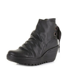 Womens Fly London Yama Black Mousse Leather Wedge Heel Ankle Boots Uk Size