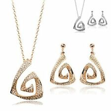 NEW Triangle Geometric Crystal Rhinestone Pendant Necklace Dangle Earrings Set