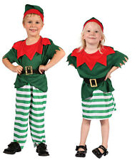 CHRISTMAS ELF KIDS TODDLERS SANTAS HELPER PIXIE FANCY DRESS COSTUME AGE NEW 2-4
