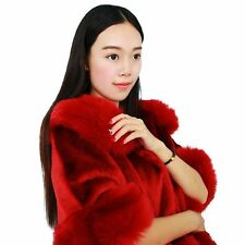 Women Ladies Winter Faux Mink Fox Cashmere Cardigan Fur Coat Winter Shawl Cape
