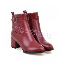 HOT Womens Med Heel Ankle Boots Pointy Toe Booties Popular Shoes UK Size GXT0724