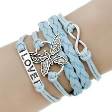 Vintage Handmade Infinity-Antique Silver Friendship Charm PU Leather Bracelet