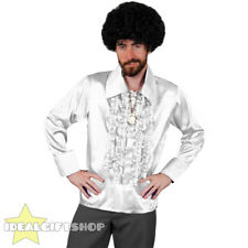 MENS WHITE 1970'S DISCO RUFFLE SHIRTS ADULTS FANCY DRESS COSTUME 70'S FRILLY TOP