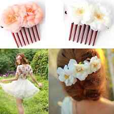 Double Rose Flower Silk Hair Comb Hair Clip Wedding Bridal Party Beachy For Girl