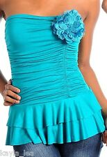 Turquoise Ruched Flower Halter/Tube Top S/M/L