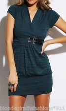 Teal/Black 2-Tone Blend Cap Sleeve Sweater Knit Tunic/Mini Dress S M L