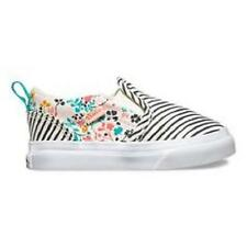 Girl's Toddler VANS ASHER Floral/Striped Ivory Fashion Canvas Loafer Shoes NEW