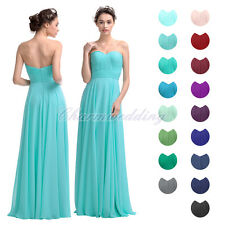 A-Line Strapless Bridesmaid Dress Long Women's Party Prom Evening Dress Chiffon