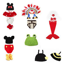 Newborn Baby Crochet Knit Costume Photography Photo Prop Hat Outfit Lot+ Hook Y