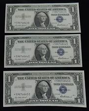 1957 **STAR** Three Consecutive 3 x $1 SILVER CERTIFICATE BLUE SEAL CRISP SHARP